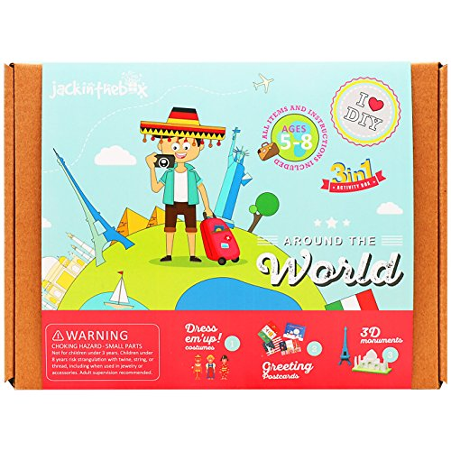 JackInTheBox Art and Craft Educational Kit for Kids - Around the World 3 DIY Fun Activities for Children Ages 5-8, Perfect Birthday Gift for Girls and Boys Learning Stem (Diy Sibling Costumes)