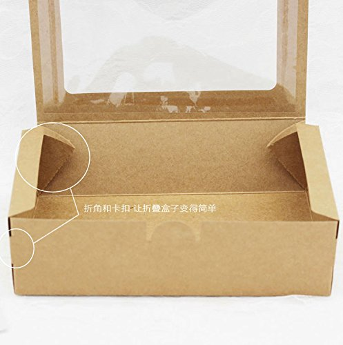 Saasiiyo 20PCS Kraft Brown Box With Window Gift Packing Cartons Boxes, Cookies Mooncake Boxes, Candy Wedding Gifts For Guests 18x12x5cm