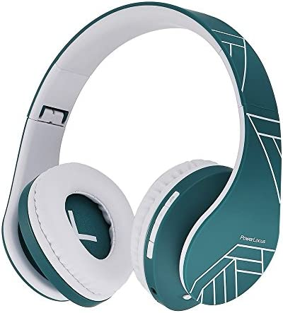 Powerlocus Bluetooth Over Ear Headphones Wireless Stereo Foldable Headphones Wireless And Wired Headsets With Built In Mic Micro Sd Tf Fm For Iphone Samsung Ipad Pc Blue White