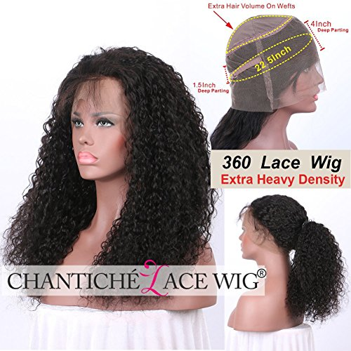 Chantiche Soft Curly 360 Lace Frontal Wig with Baby Hair and High Ponytail Brazilian Virgin Human Hair Customized 360 Lace Full Wigs with 150% Heavy Density for Women 14inches Natural Color by Chantiche Lace Wig