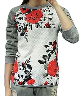 ASL Womens Autumn Flower Printed Crewneck Long Sleeve Sweatshirt Grey XS
