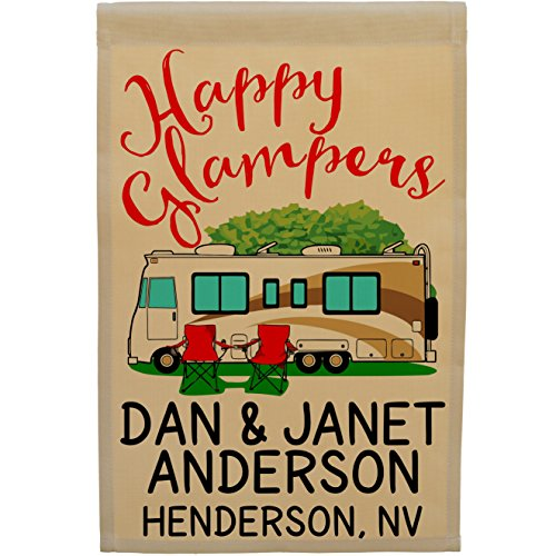 Happy Glampers Personalized Campsite Sign, Motorhome Garden