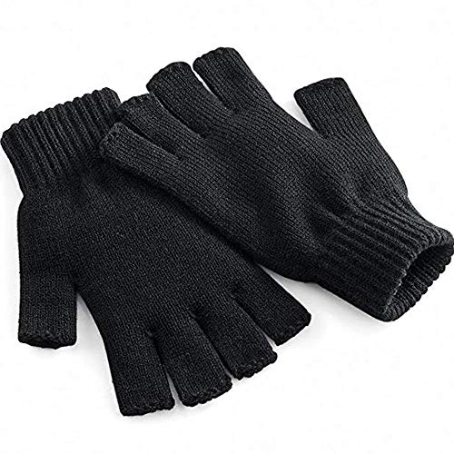 Unisex Warm Half Finger Knit Gloves Stretchy Women Men Winter Warmer Knitted Mittens Fingerless (Black, M)