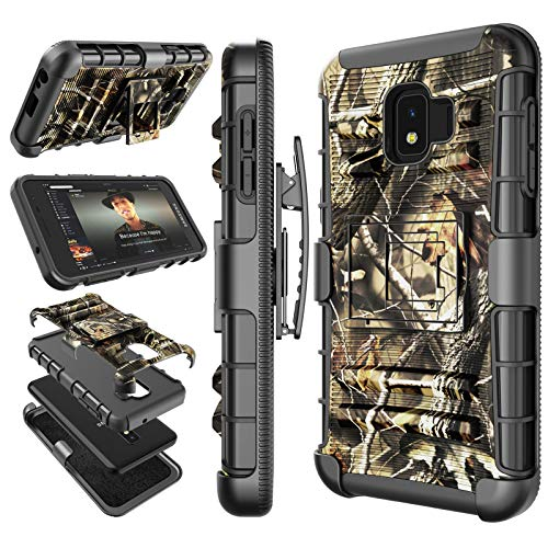 Tekcoo for Galaxy J2 Core Case/Galaxy J2 Dash / J2 Pure Holster Clip, [Hoplite] Swivel Locking Belt Defender Full Body Kickstand Carrying Camouflage Sturdy Phone Cases Cover [Camo] for Samsung J260