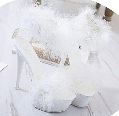 Sandales Femme Stiletto Sexy Talon Fourré Haut Aisun Blanc Aiguille Décor 8xnnOW