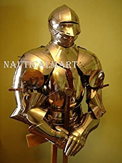 SCA LARP Medieval Gothic Knight Half Suit Of Armour Body Armor Breastplate with Helmet Nauticalmart