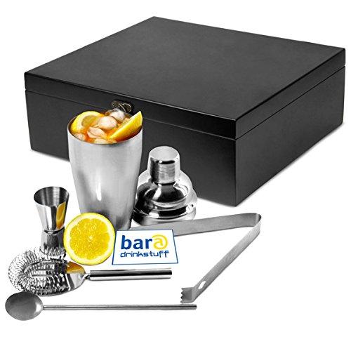 Cocktail Geschenk Set 'Manhattan Nights' in Holz-Geschenk-Box   Cocktail Shaker, Cocktail-Sieb, Jigger Messbecher, Rührstab, Eiswürfelzange