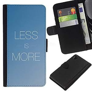 Sony Xperia Z2 D6502 D6503 D6543 L50t L50u , la tarjeta de Crédito Slots PU Funda de cuero Monedero caso cubierta de piel ( More Less Text Inspirational Minimalism Blue)