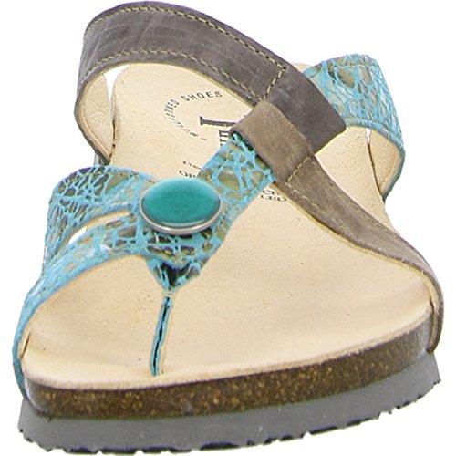 Think! 80335-65 - Zuecos de Piel para mujer azul azul türkis/kombi