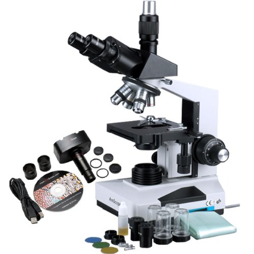 AmScope T490B-MT Digital Compound Trinocular Microscope, WF10x and WF20x Eyepieces, 40X-2000X Magnification, Brightfield, Halogen Illumination, Abbe Condenser, Double-Layer Mechanical Stage, Sliding Head, High-Resolution Optics, Includes 1.3MP Camera with Reduction Lens and Software