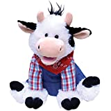 Musical Plush Cow Sings Old MacDonald - Dressed in Overalls & Bandanna