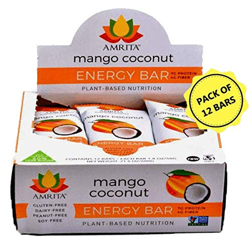 Paleo Mango Coconut Nutrition Bars - Gluten-Free, Soy-Free, Dairy-Free, Non-GMO Certified - Vegan, Raw and Kosher - Kid-School Safe Snack - Clean fuel for athletes - Pack of 12- 1.8oz Each  by Amrita