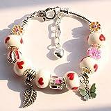 Mr Rabbit Glass Crystal Beads Bracelet for Women Teen Girls Snake Chain Charm Bracelets,Pandora Bracelets
