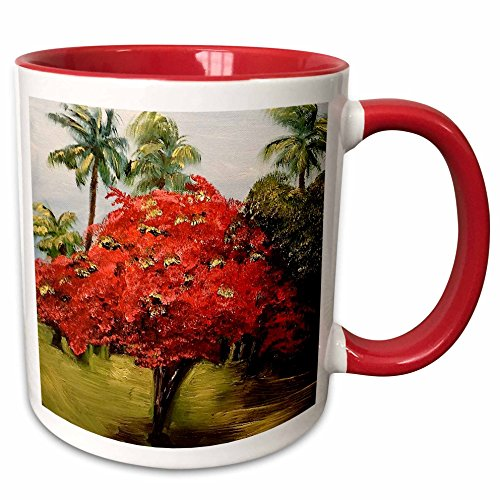 3dRose Melissa A. Torres Art Puerto Rico - Photo of a Flamboyant Tree with palms in Puerto Rico - 15oz Two-Tone Red Mug (mug_171480_10)
