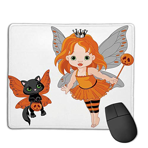 Premium-Textured Mouse Mat,Non-Slip Rubber Mousepad Waterproof,Halloween,Halloween Baby Fairy and Her Cat in Costumes Butterflies Girls Kids Room Decor Decorative,Multicolor,Applies to Games,Home, s -