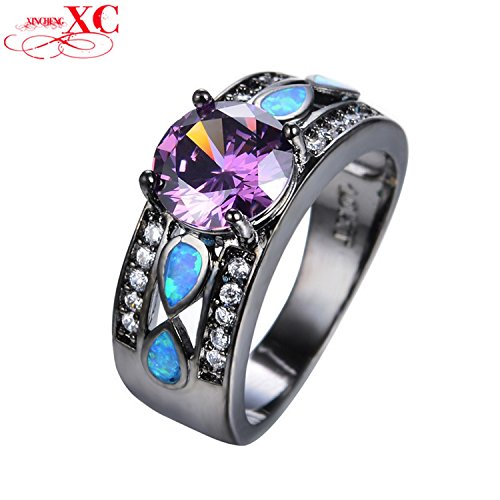 Cherryn Jewelry Blue Fire Opal Amethyst Ring for Halloween Jewelry Women/Men Fashion Vintage Black Gold Filled CZ Wedding Ring RB0545