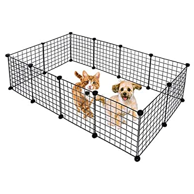 COLOR-LILIJ Metal Pet Playpen Dog Kennel Pets Fence, Exercise Cage 12 Panels - Each Panel Size 13.8''x13.8'' - Easy to Put Together - US Stock