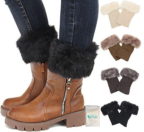 Gellwhu 4Pairs Short Leg Warmer for Women Crochet Knitted Boot Socks Cuffs - Cashmere Cotton Shorts