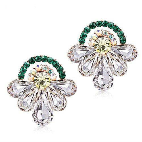 Laurel Gold Crystal Chandelier (HeyGirl Christmas Women Sweet Flower Crystal Earrings(Silver£)