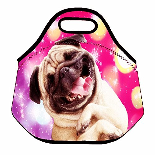 (Happy Dog) 3.5MM Thick Neoprene Lunch Bag/Lunch Tote, Insulated | Stretchy | Reusable | Washable | Rugged Zipper | Great For Lunchboxes & Snacks By Selric
