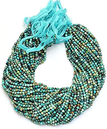 """Natural Gem Multicolor Chrysocolla 4MM Micro Faceted Rondelle Beads Strand 13/"""""""