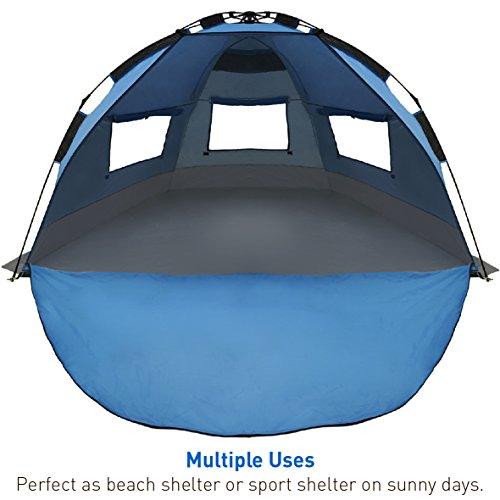 Best Selling EasyGo Shelter - Instant Easy Up Beach Umbrella Tent Sun Sport Shelter (Dark Blue) Canvas Block Stripe