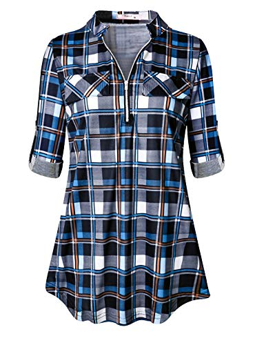 Button Cuff Print Blouse - Tanst Plaid Tunic Juniors Tops Zip Up Tunics Blouse for Leggings with Pockets Print Flattering Comfy Long T Shirt Cuff Sleeve with Button Tab Business Casual Checkered Top for Work Blue 2XL