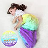 RIBANDS HOME Cozy Mermaid Tail Blanket for Kids and Teens Soft Flannel Fleece Wrapping Cover with Colorful Ombre Fish Tail – All Seasons Plush Sleeping and Napping Coverlet