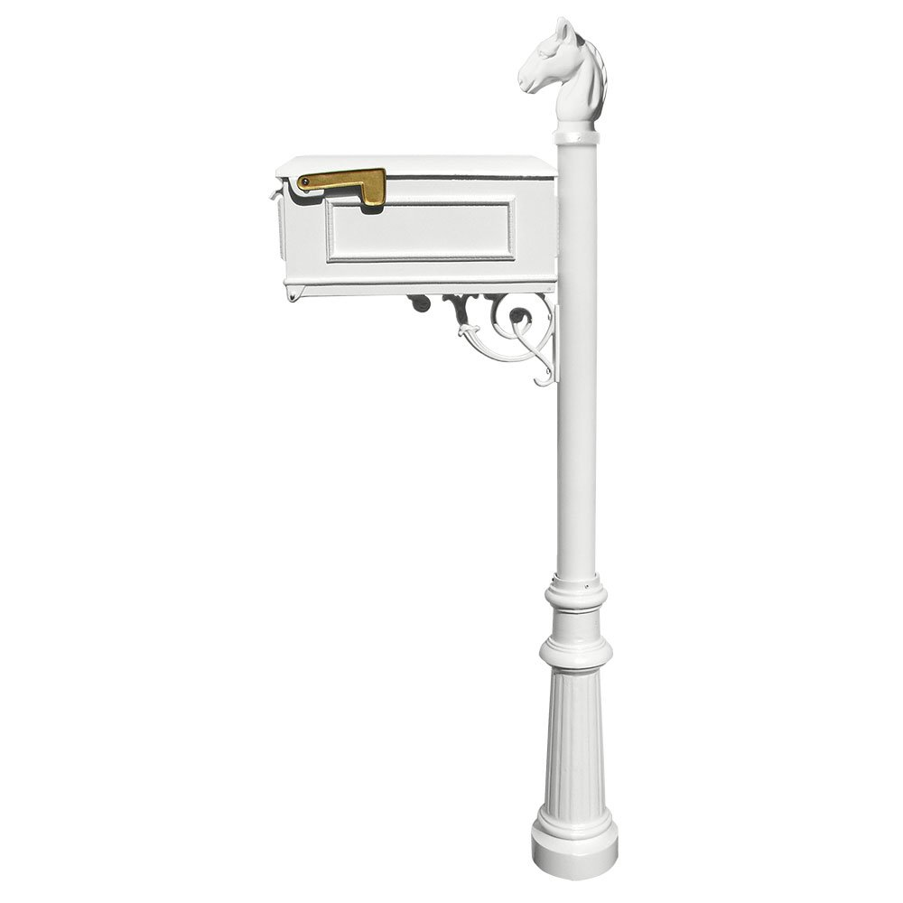 Qualarc Lewiston Cast Aluminum Post Mount Mailbox System with Post,  Aluminum Mailbox, Fluted Base and Horsehead Finial, White, Ships in 2 boxes