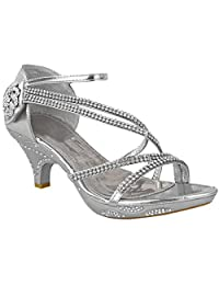 Fashion Thirsty Womens Low Heel Diamante Bridal Wedding Sandals Strappy Party Shoes Size
