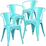 Poly and Bark Trattoria Arm Chair in Aqua (Set of 4)