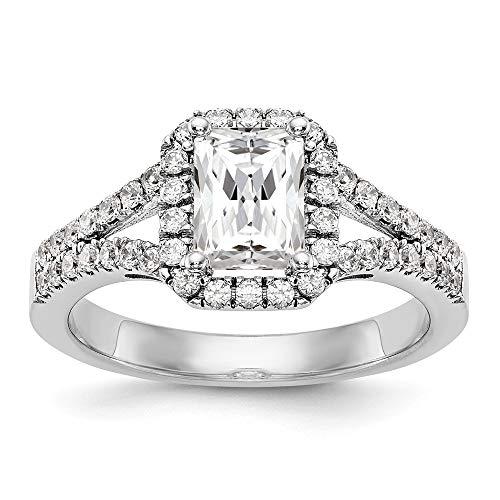 (14K White Gold Diamond Emerald Semi-Mount Halo Engagement Ring Size 7 Length Width)