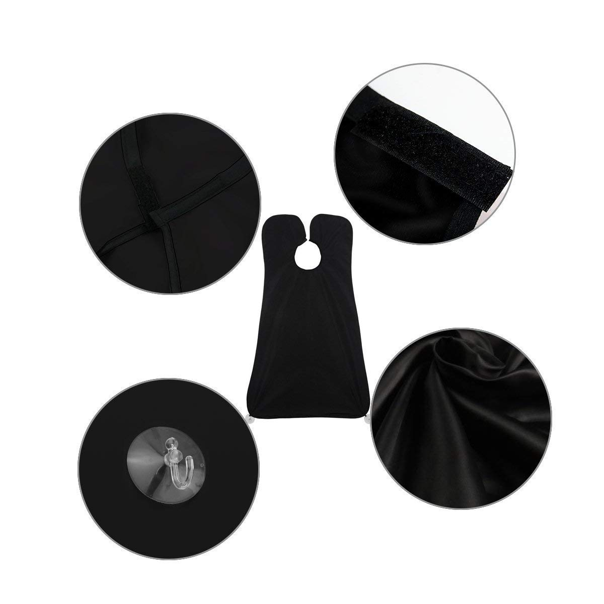 Shaving Grooming Apron, Justime Hair Cutting Cape,Beard Bib Shaving Apron,Waterproof Cloth Hair Catcher Grooming Cape, Trimming Cloak with 2 Suction Cups for Man or Household Cleaning Protections(Black)