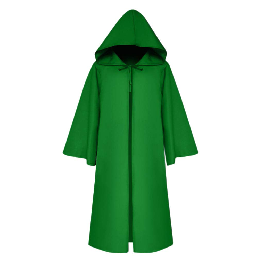 VEKDONE Boys Girls Halloween Cosplay Hooded Cape Open Front Loose Long Sleeves Cape Kids(Green,10-11 Years) by VEKDONE Baby