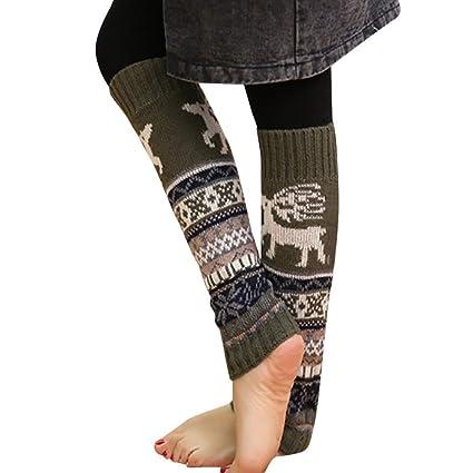 9711d7cc7da1d Pausseo Christmas Fawn Snowflake Knit Pile Winter Warm Leg Cable Crochet  High Long Socks Leggings Skateboard