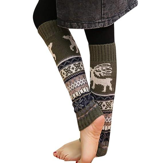 BHYDRY Invierno Cálido Cable de la pierna de Navidad Tejido de punto Crochet Calcetines largos Leotardos: Amazon.es: Ropa y accesorios