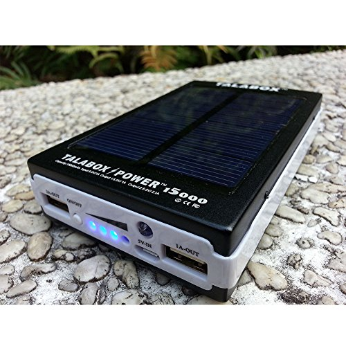 TALABOX 15000mah Portable Black solar charger solar power bank solar battery charger Charging Compatible for IphoneX,iphoneX plus,iphone8,iphone8 plus,iphone7,7plusiphone6,6 Plus,5,5s,4,4s and Sumsung S8,S7,S6,S5,note8,note7,note6,HUAWEI Mate10,Mate9,Mate8,P10,P9,P8 and All Cell Phones Devices.(Black)