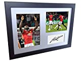 Signed Black Soccer Romelu Lukaku Manchester United Autographed Photo Photographed Picture Frame A4 12x8 Football Gift
