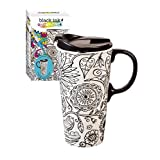Cypress Home Nature in Color Coloring Book Ceramic Travel Coffee Mug, 17 ounces by Cypress