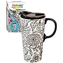 """Cypress Home Just Add Color Nature in Color 17 oz Boxed Ceramic Perfect Travel Coffee Mug or Tea Cup with Lid - Includes 4 Food-Safe Markers - 3""""W x 5.25""""D x 7""""H"""