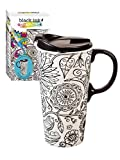 """Cypress Home Just Add Color Nature in Color 17 oz Boxed Ceramic Perfect Travel Coffee Mug or Tea Cup with Lid - Includes 4 Food-Safe Markers - 3""""W x 5.25''D x 7''H"""