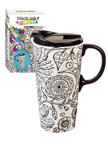 "Cypress Home Just Add Color Nature in Color 17 oz Boxed Ceramic Perfect Travel Coffee Mug or Tea Cup with Lid - Includes 4 Food-Safe Markers - 3""W x 5.25""D x 7""H"