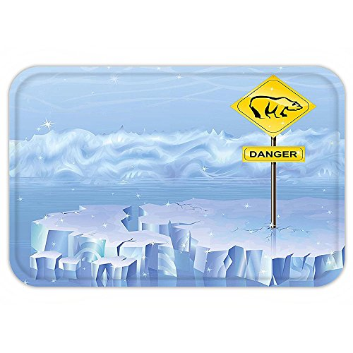 Kisscase Custom Door MatWinter Polar Bear Danger Sign on Iceberg Arctic North Snowy Cracked Illustration Light Blue Yellow (Halloween Connect The Dots Hard)