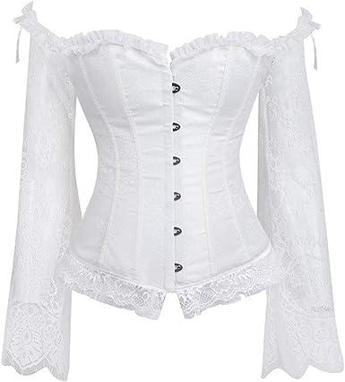 CLOOM Medieval Gótico Steampunk Corsé para Mujer Sexy Encajes Patchwork Blusa Moda Camiseta Ajustado Camisa De Manga Larga Moldeador Talladora del Cuerpo del Entrenador: Amazon.es: Ropa y accesorios