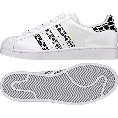adidas Originals Women's Superstar Shoes Sneaker, White/Gold Metallic/Black, 8