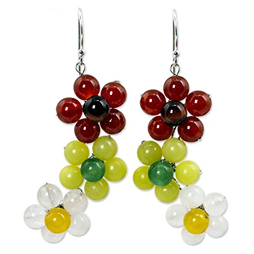 - NOVICA Multi-Gem Carnelian .925 Sterling Silver Beaded Earrings 'Spring Bouquet'