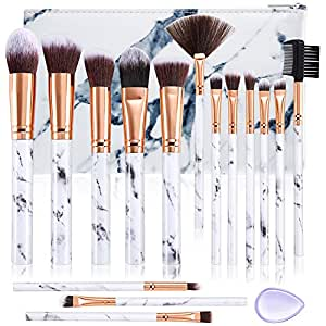 DUAIU Makeup Brushes Set Premium Synthetic Foundation Powder Concealers Blending Eye Shadows Face Make Up Brush Sets 15 Pcs Marble with Cosmetic Bag Silicone Puff