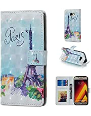 Glitter Wallet Case for Samsung Galaxy A5 2017 and Screen Protector,QFFUN Bling Design [Tower] Magnetic Stand Leather Phone Case with Card Holder Drop Protection Etui Bumper Flip Cover