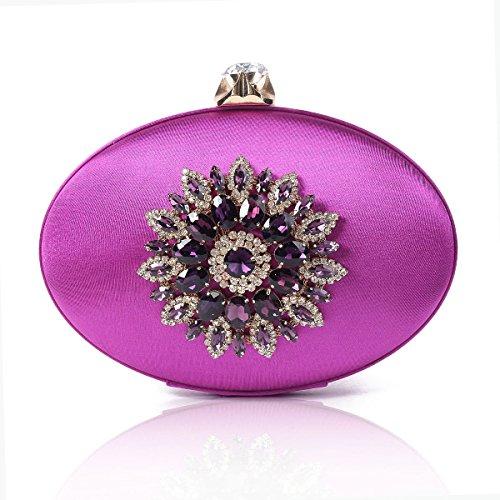 Purple Large Womens Floral Evening Vintage Ellipse Crystal Damara Bag qT1wFxnC8