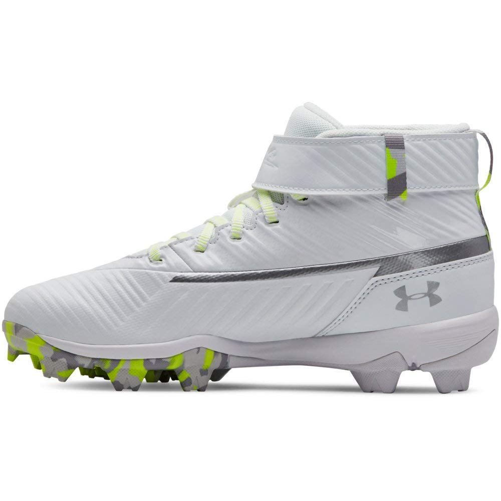 Under Armour Boys' Harper 3 Mid Jr. RM Baseball Shoe 100/White, 1 by Under Armour (Image #1)